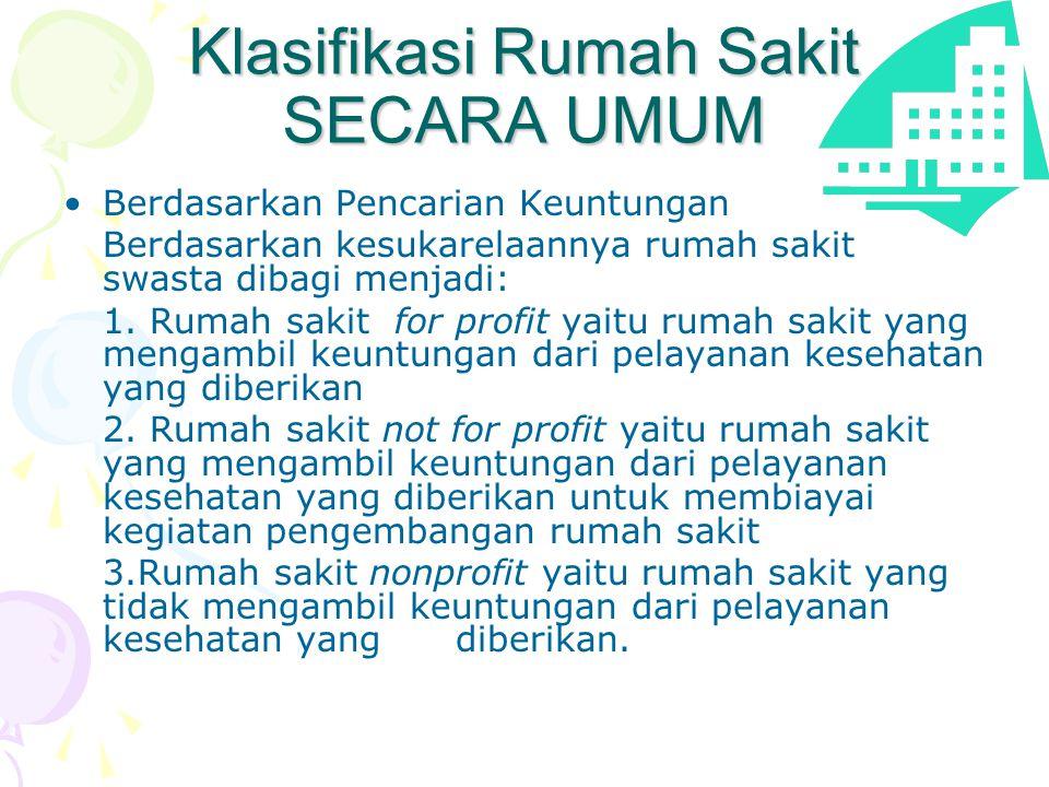 Klasifikasi Rumah Sakit SECARA UMUM •Berdasarkan Pencarian Keuntungan Berdasarkan kesukarelaannya rumah sakit swasta dibagi menjadi: 1.