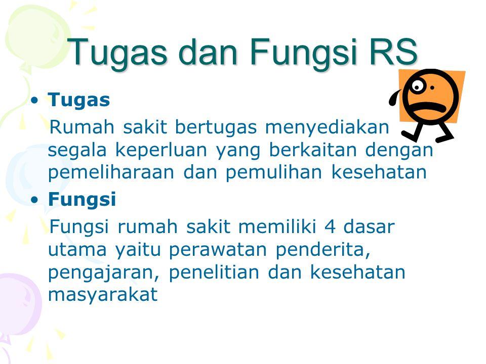 Tugas dan Fungsi RS •Tugas Rumah sakit bertugas menyediakan segala keperluan yang berkaitan dengan pemeliharaan dan pemulihan kesehatan •Fungsi Fungsi