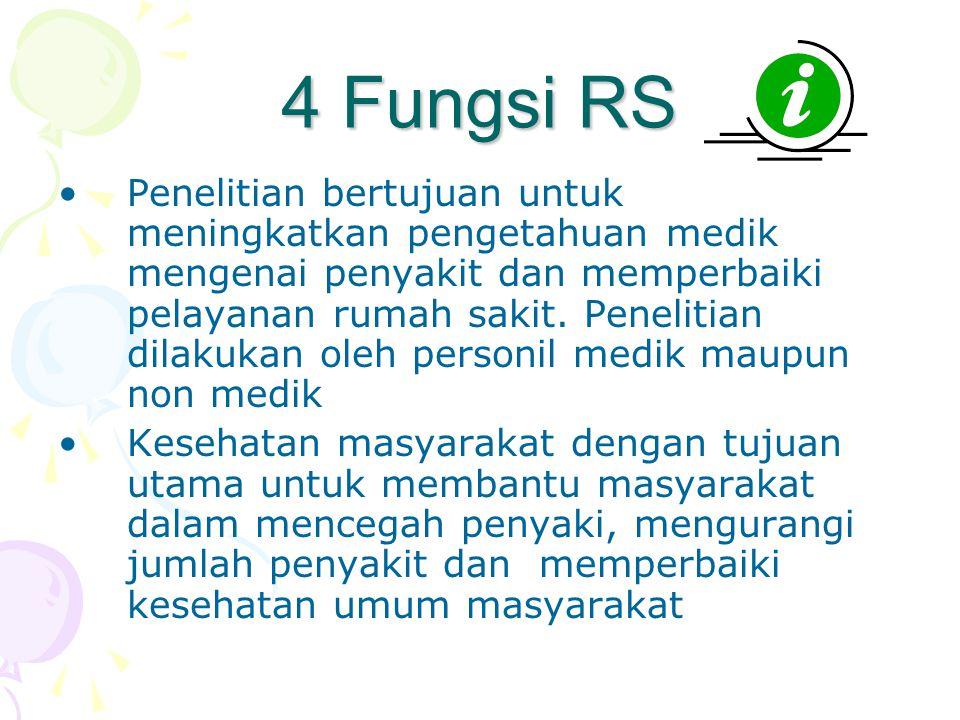 4 Fungsi RS •Penelitian bertujuan untuk meningkatkan pengetahuan medik mengenai penyakit dan memperbaiki pelayanan rumah sakit.