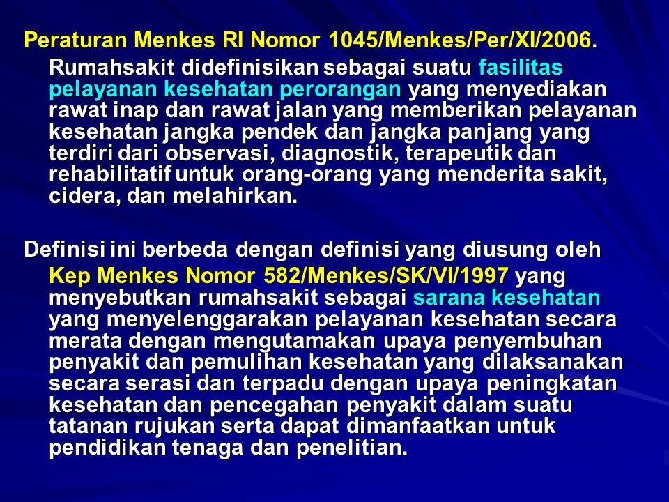 Peraturan Menkes RI Nomor 1045/Menkes/Per/XI/2006. Rumahsakit didefinisikan sebagai suatu fasilitas pelayanan kesehatan perorangan yang menyediakan ra