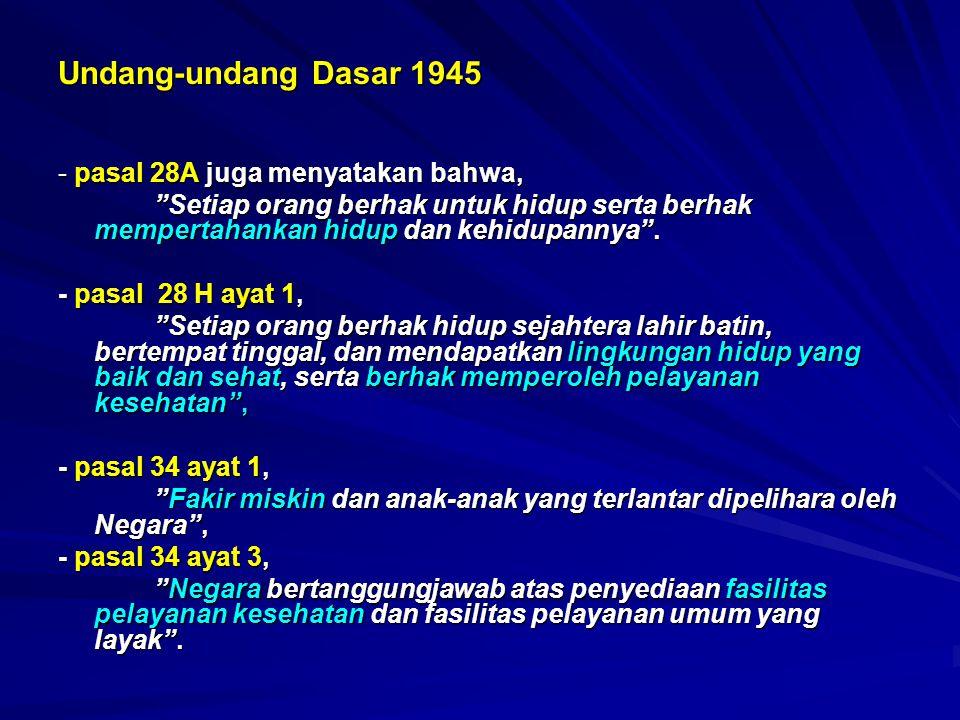 Undang-undang Dasar 1945 - pasal 28A juga menyatakan bahwa, Setiap orang berhak untuk hidup serta berhak mempertahankan hidup dan kehidupannya .