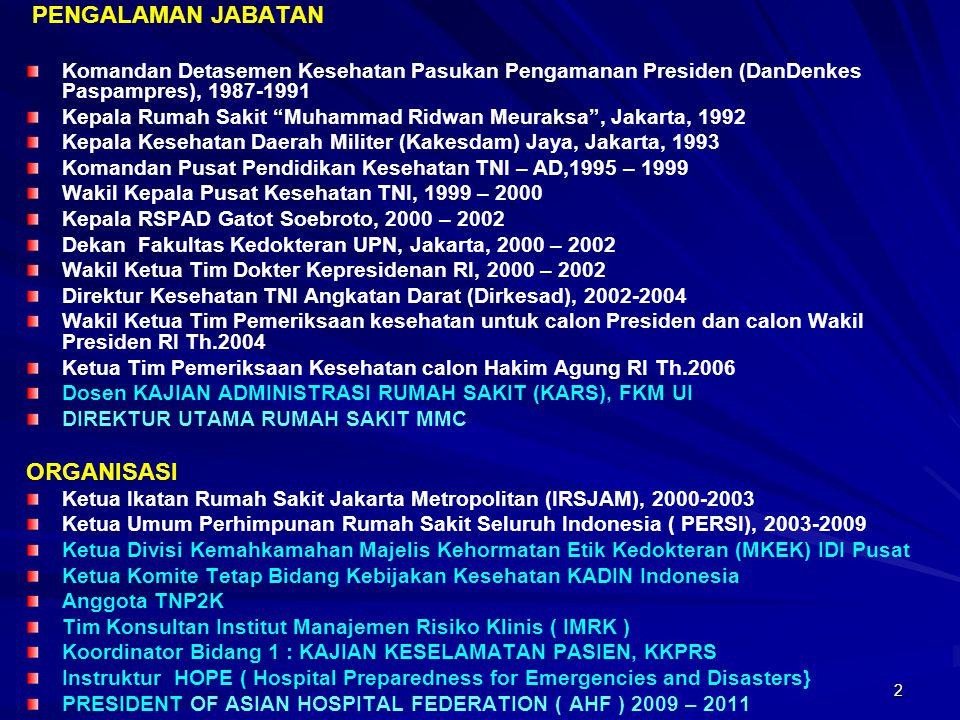 "2 PENGALAMAN JABATAN Komandan Detasemen Kesehatan Pasukan Pengamanan Presiden (DanDenkes Paspampres), 1987-1991 Kepala Rumah Sakit ""Muhammad Ridwan Me"
