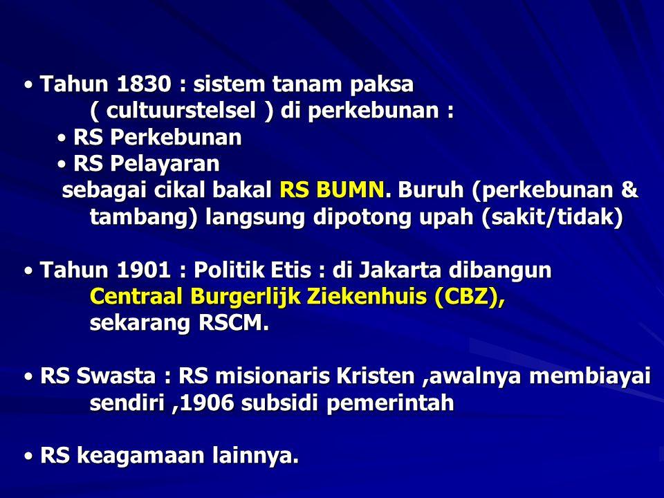 • Tahun 1830 : sistem tanam paksa ( cultuurstelsel ) di perkebunan : • RS Perkebunan • RS Pelayaran sebagai cikal bakal RS BUMN.
