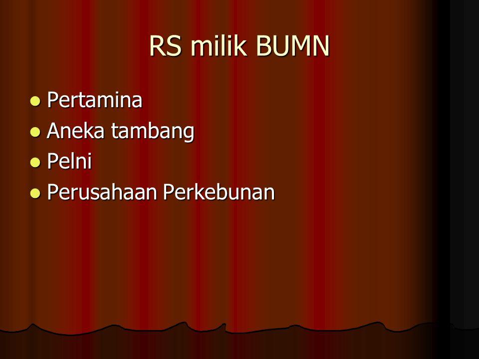 RS milik BUMN  Pertamina  Aneka tambang  Pelni  Perusahaan Perkebunan