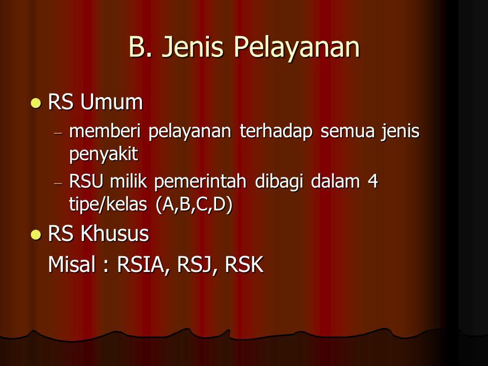 B. Jenis Pelayanan  RS Umum  memberi pelayanan terhadap semua jenis penyakit  RSU milik pemerintah dibagi dalam 4 tipe/kelas (A,B,C,D)  RS Khusus