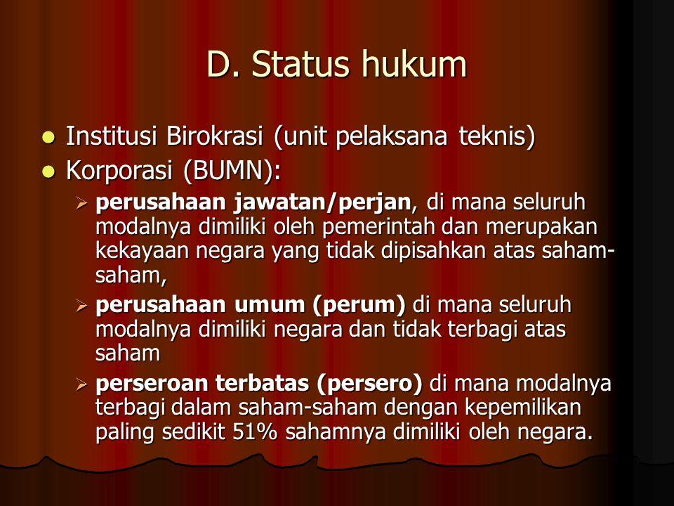 D. Status hukum  Institusi Birokrasi (unit pelaksana teknis)  Korporasi (BUMN):  perusahaan jawatan/perjan, di mana seluruh modalnya dimiliki oleh