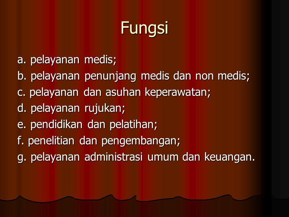 Fungsi a.pelayanan medis; b. pelayanan penunjang medis dan non medis; c.