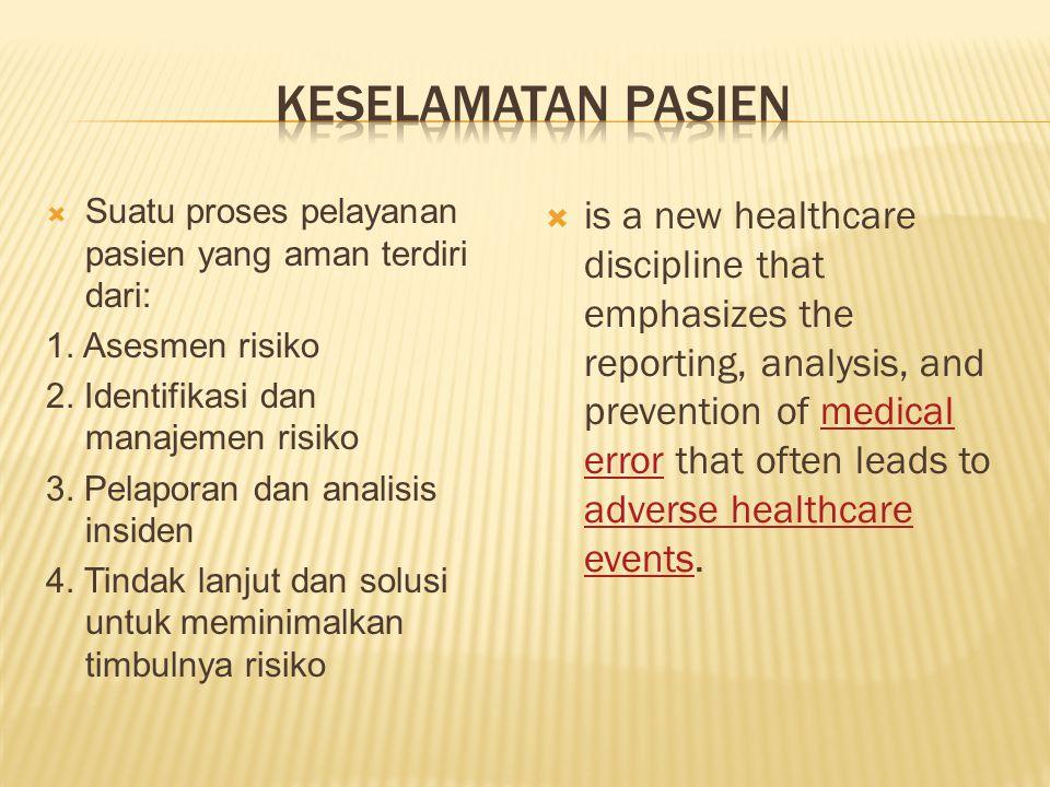  Suatu proses pelayanan pasien yang aman terdiri dari: 1. Asesmen risiko 2. Identifikasi dan manajemen risiko 3. Pelaporan dan analisis insiden 4. Ti