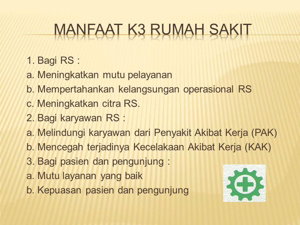 1. Bagi RS : a. Meningkatkan mutu pelayanan b. Mempertahankan kelangsungan operasional RS c. Meningkatkan citra RS. 2. Bagi karyawan RS : a. Melindung