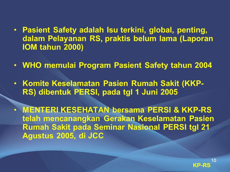 10 •Pasient Safety adalah Isu terkini, global, penting, dalam Pelayanan RS, praktis belum lama (Laporan IOM tahun 2000) •WHO memulai Program Pasient S