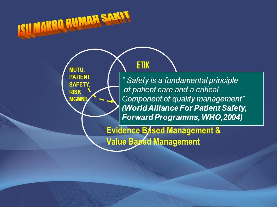 MUTU, PATIENT SAFETY, RISK MGMNT ETIK Evidence Based Management & Value Based Management Safety is a fundamental principle of patient care and a critical Component of quality management (World Alliance For Patient Safety, Forward Programms, WHO,2004)