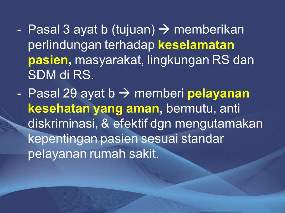 -Pasal 3 ayat b (tujuan)  memberikan perlindungan terhadap keselamatan pasien, masyarakat, lingkungan RS dan SDM di RS. -Pasal 29 ayat b  memberi pe