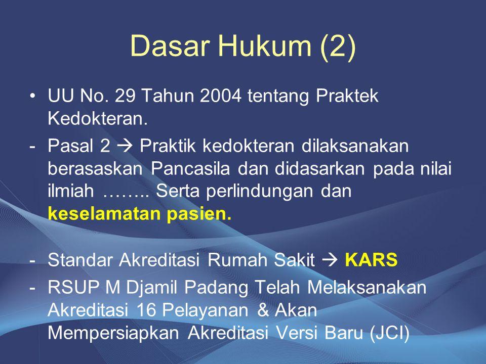 Dasar Hukum (2) •UU No. 29 Tahun 2004 tentang Praktek Kedokteran. -Pasal 2  Praktik kedokteran dilaksanakan berasaskan Pancasila dan didasarkan pada