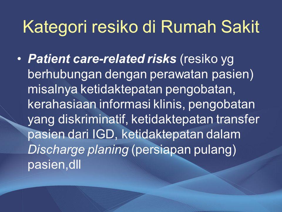 Kategori resiko di Rumah Sakit •Patient care-related risks (resiko yg berhubungan dengan perawatan pasien) misalnya ketidaktepatan pengobatan, kerahas