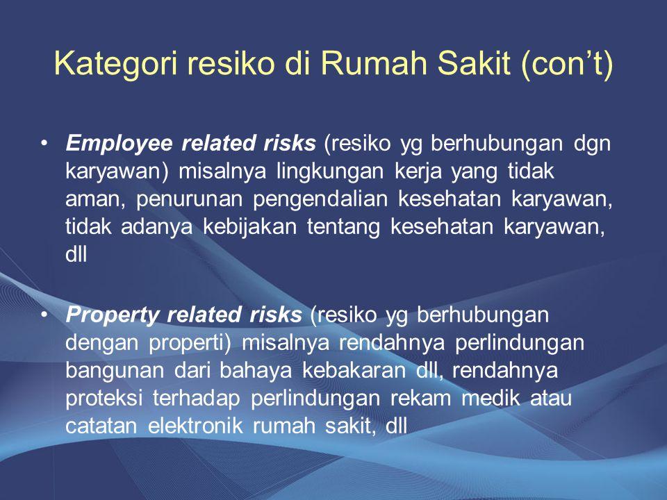 Kategori resiko di Rumah Sakit (con't) •Employee related risks (resiko yg berhubungan dgn karyawan) misalnya lingkungan kerja yang tidak aman, penurun