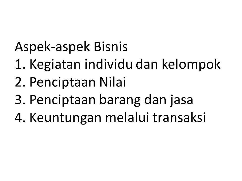 Aspek-aspek Bisnis 1.Kegiatan individu dan kelompok 2.
