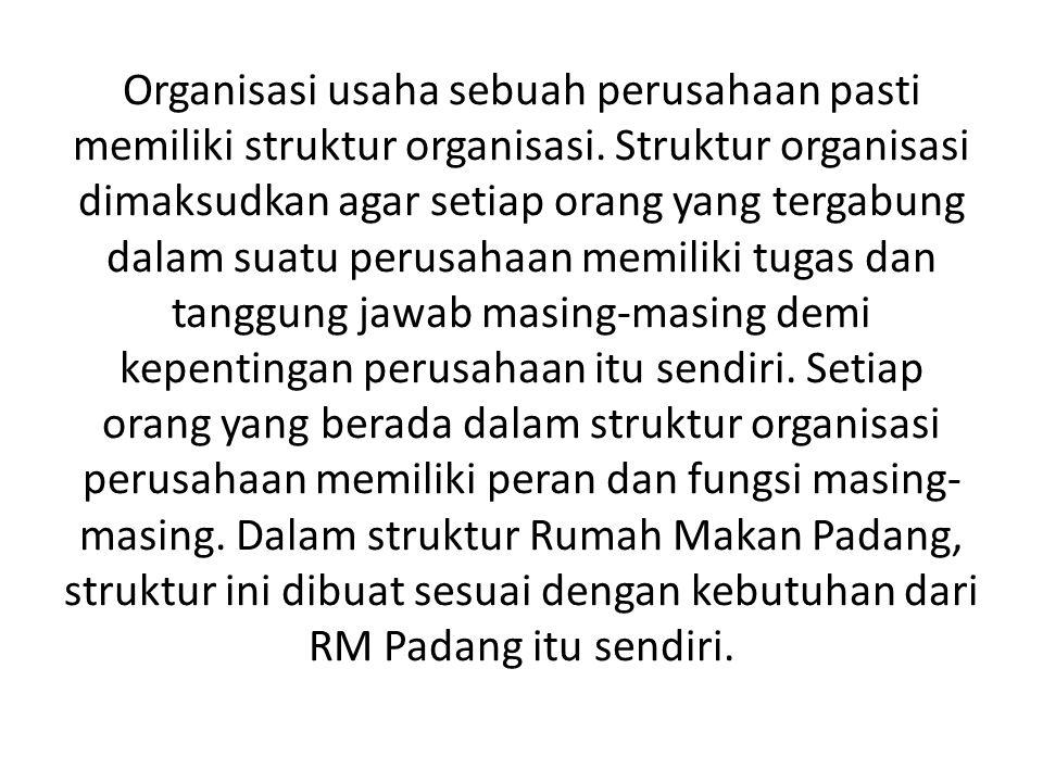Organisasi usaha sebuah perusahaan pasti memiliki struktur organisasi.