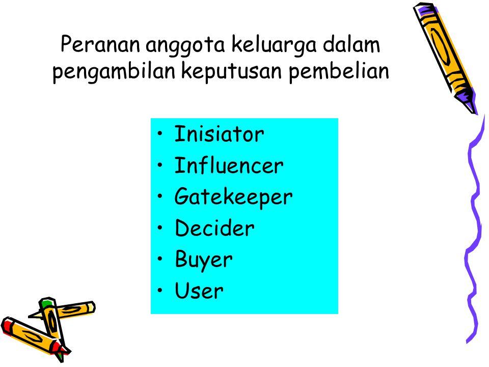 Peranan anggota keluarga dalam pengambilan keputusan pembelian •Inisiator •Influencer •Gatekeeper •Decider •Buyer •User