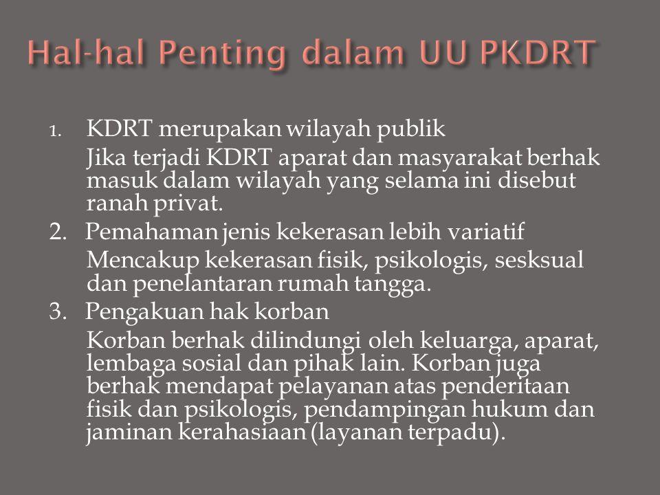 1. KDRT merupakan wilayah publik Jika terjadi KDRT aparat dan masyarakat berhak masuk dalam wilayah yang selama ini disebut ranah privat. 2. Pemahaman