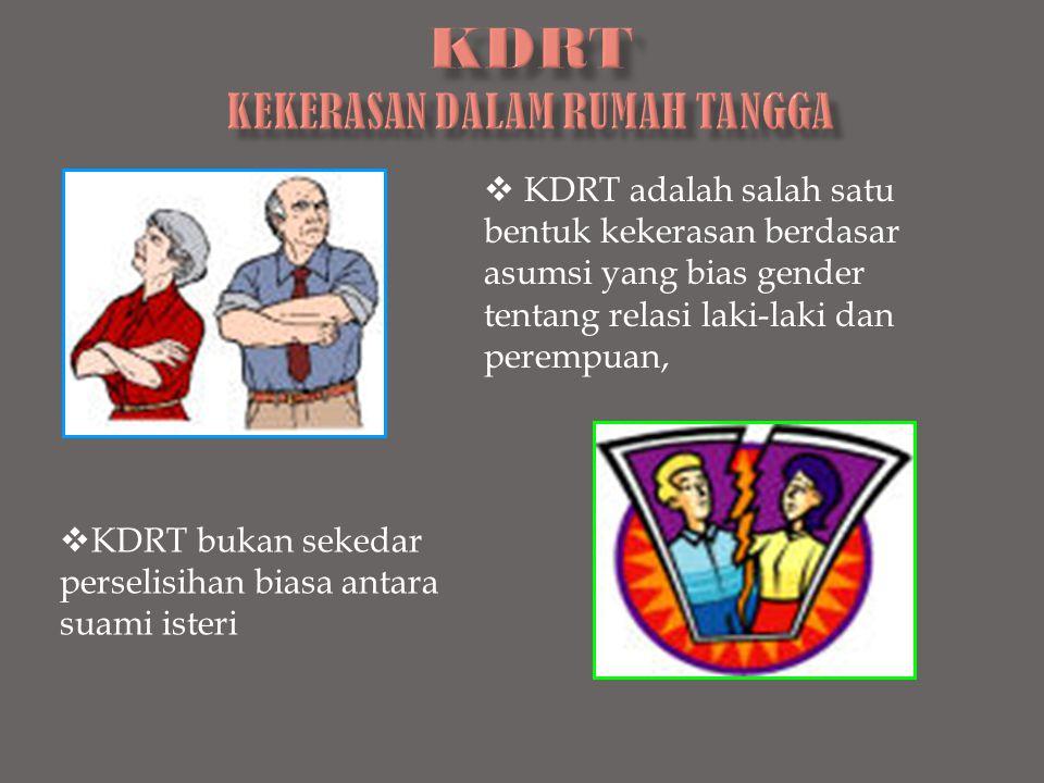  KDRT adalah salah satu bentuk kekerasan berdasar asumsi yang bias gender tentang relasi laki-laki dan perempuan,  KDRT bukan sekedar perselisihan b