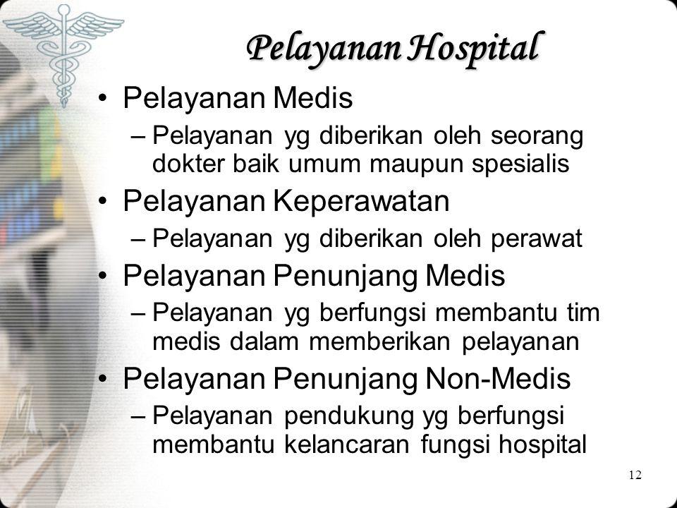 12 Pelayanan Hospital •Pelayanan Medis –Pelayanan yg diberikan oleh seorang dokter baik umum maupun spesialis •Pelayanan Keperawatan –Pelayanan yg dib
