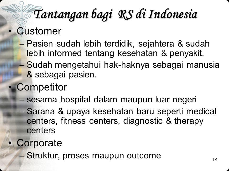 15 Tantangan bagi RS di Indonesia •Customer –Pasien sudah lebih terdidik, sejahtera & sudah lebih informed tentang kesehatan & penyakit. –Sudah menget