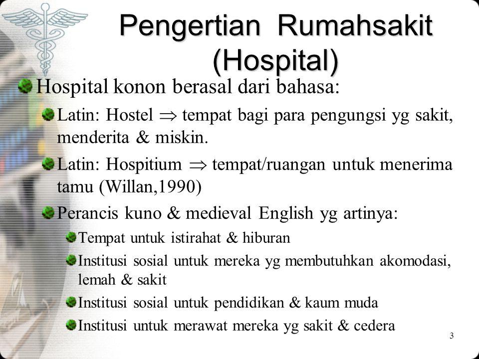 3 Pengertian Rumahsakit (Hospital) Hospital konon berasal dari bahasa: Latin: Hostel  tempat bagi para pengungsi yg sakit, menderita & miskin. Latin: