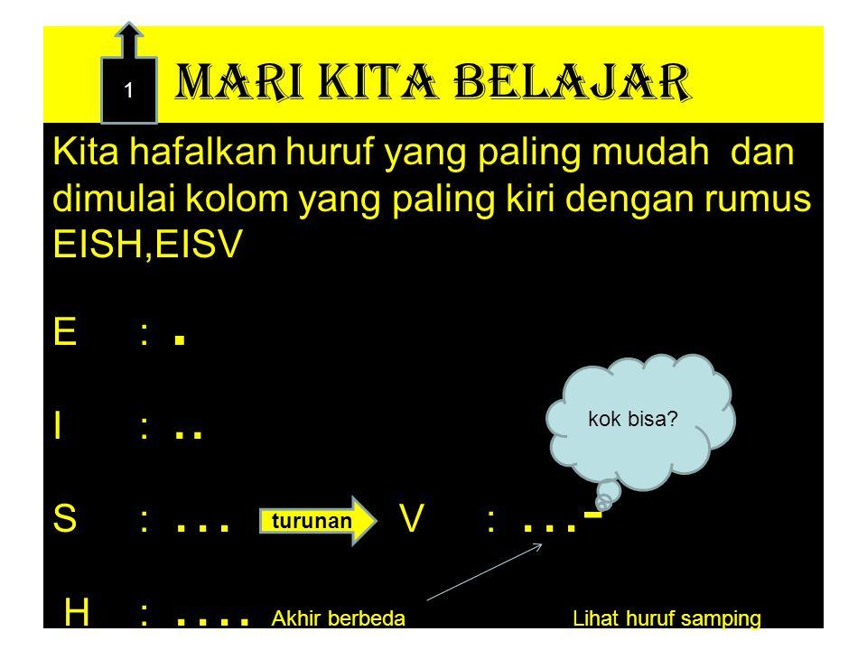 MARI KITA BELAJAR Kita hafalkan huruf yang paling mudah dan dimulai kolom yang paling kiri dengan rumus EISH,EISV E:.