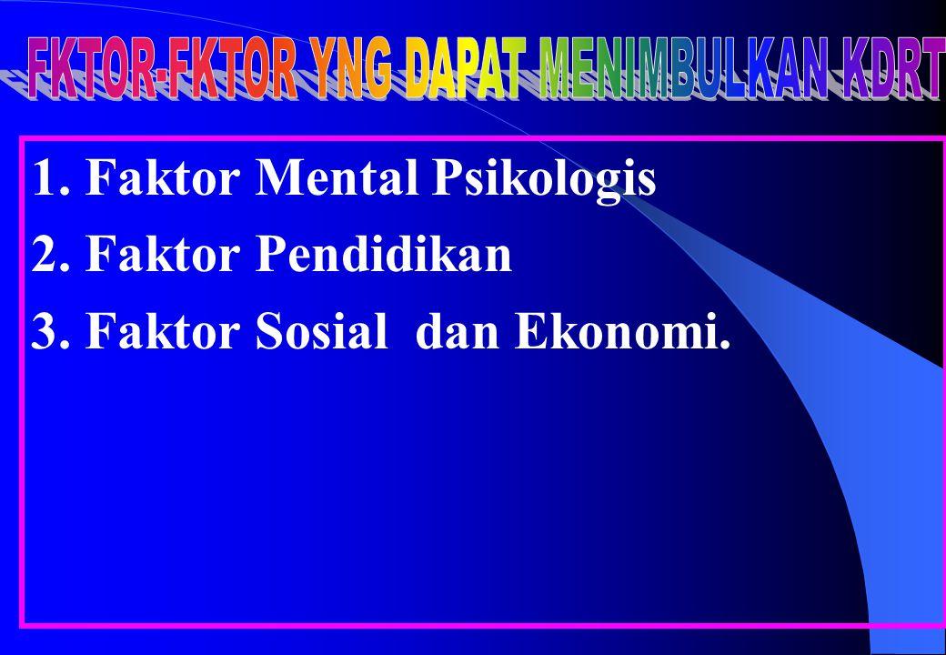 1. Faktor Mental Psikologis 2. Faktor Pendidikan 3. Faktor Sosial dan Ekonomi.