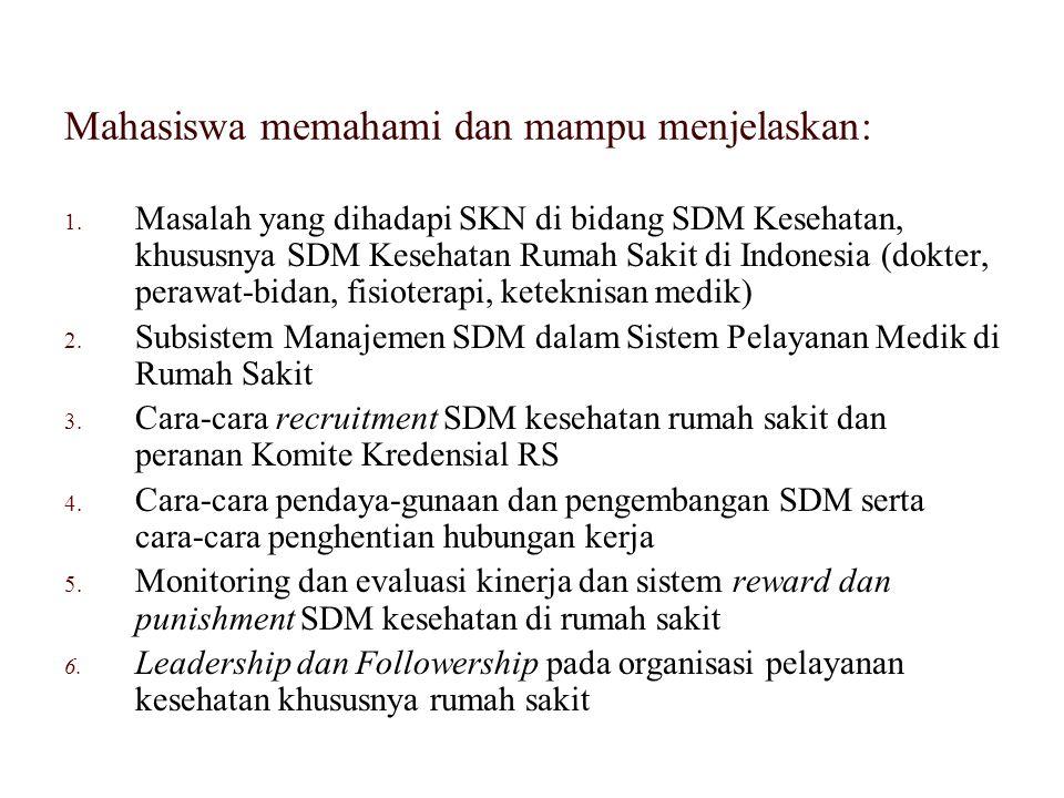 Mahasiswa memahami dan mampu menjelaskan: 1. Masalah yang dihadapi SKN di bidang SDM Kesehatan, khususnya SDM Kesehatan Rumah Sakit di Indonesia (dokt