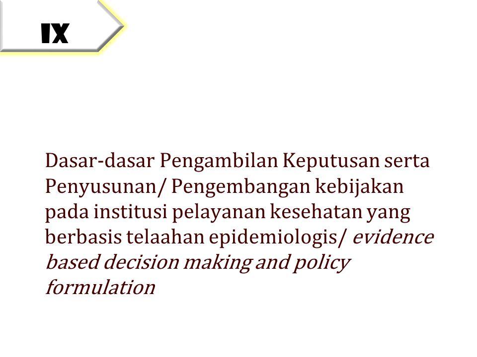 Dasar-dasar Pengambilan Keputusan serta Penyusunan/ Pengembangan kebijakan pada institusi pelayanan kesehatan yang berbasis telaahan epidemiologis/ ev