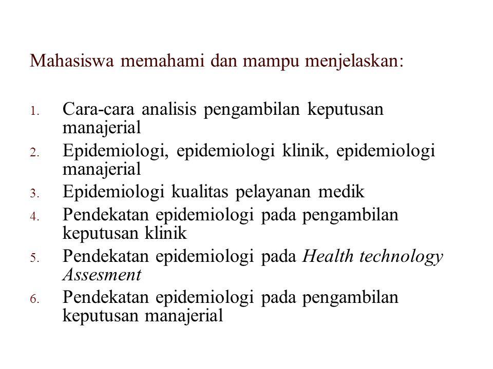 1. Cara-cara analisis pengambilan keputusan manajerial 2. Epidemiologi, epidemiologi klinik, epidemiologi manajerial 3. Epidemiologi kualitas pelayana