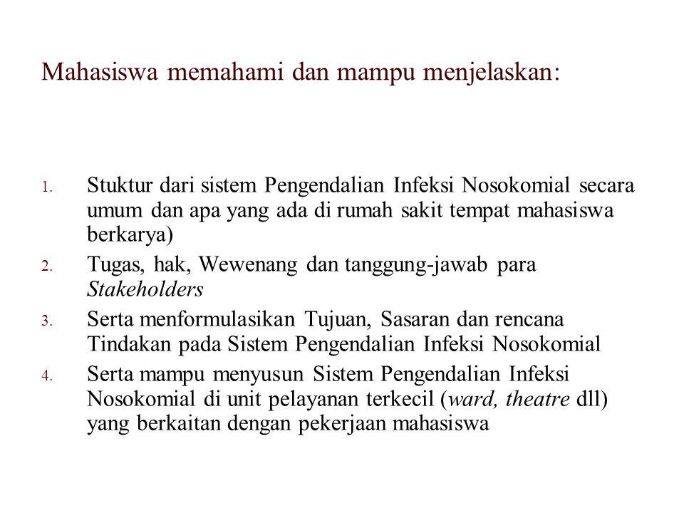 1. Stuktur dari sistem Pengendalian Infeksi Nosokomial secara umum dan apa yang ada di rumah sakit tempat mahasiswa berkarya) 2. Tugas, hak, Wewenang