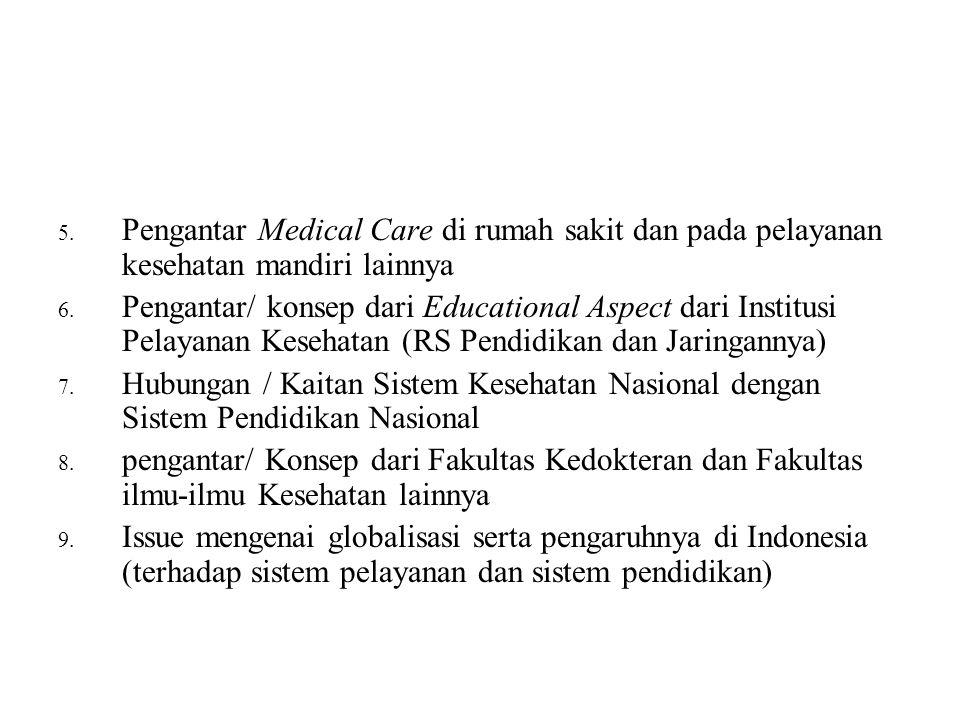 5. Pengantar Medical Care di rumah sakit dan pada pelayanan kesehatan mandiri lainnya 6. Pengantar/ konsep dari Educational Aspect dari Institusi Pela