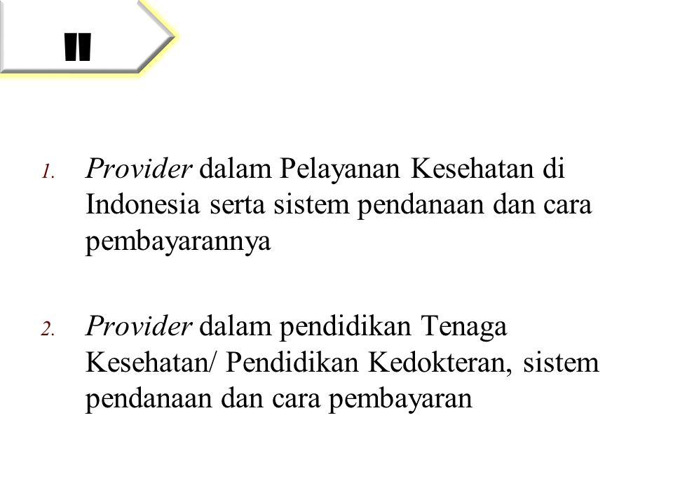 1. Provider dalam Pelayanan Kesehatan di Indonesia serta sistem pendanaan dan cara pembayarannya 2. Provider dalam pendidikan Tenaga Kesehatan/ Pendid