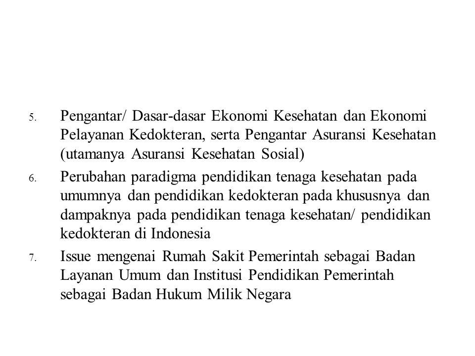 5. Pengantar/ Dasar-dasar Ekonomi Kesehatan dan Ekonomi Pelayanan Kedokteran, serta Pengantar Asuransi Kesehatan (utamanya Asuransi Kesehatan Sosial)