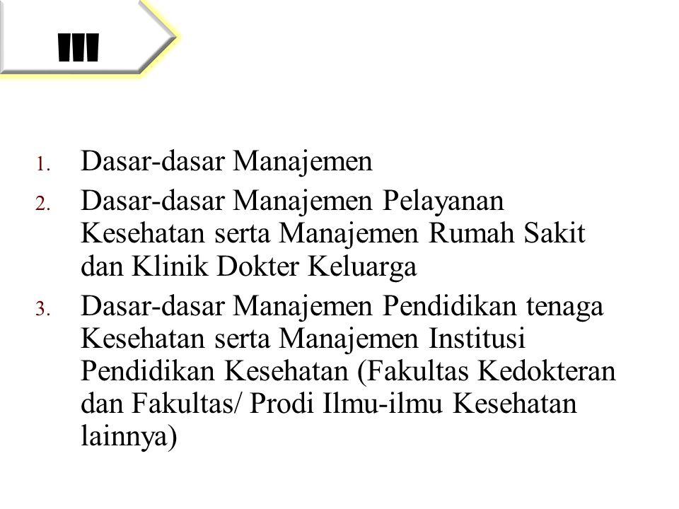 1. Dasar-dasar Manajemen 2. Dasar-dasar Manajemen Pelayanan Kesehatan serta Manajemen Rumah Sakit dan Klinik Dokter Keluarga 3. Dasar-dasar Manajemen
