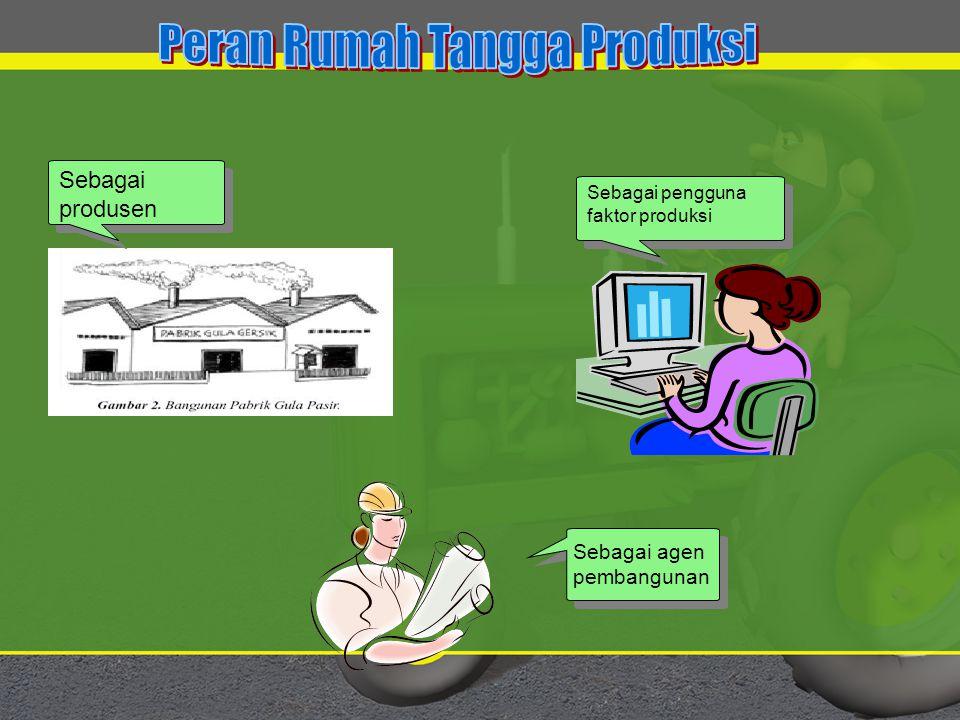 Sebagai produsen Sebagai pengguna faktor produksi Sebagai agenpembangunan