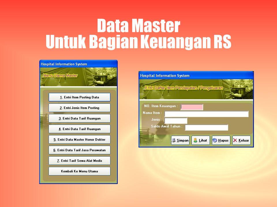 Data Master Untuk Bagian Keuangan RS