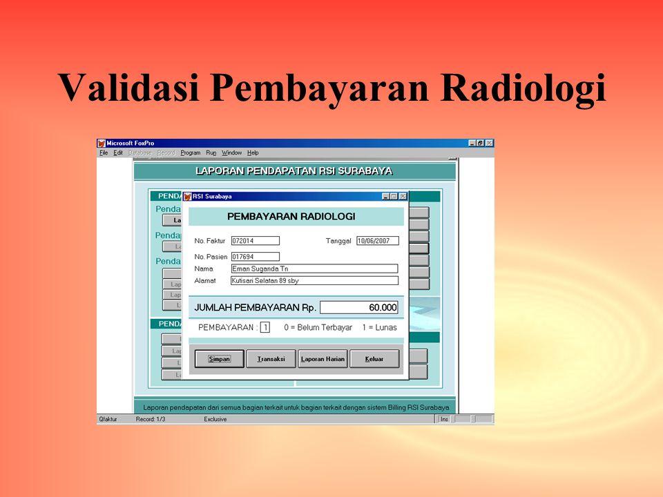 Validasi Pembayaran Radiologi
