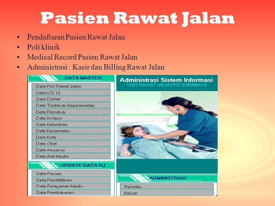 Pasien Rawat Jalan •Pendaftaran Pasien Rawat Jalan •Poli klinik •Medical Record Pasien Rawat Jalan •Administrasi : Kasir dan Billing Rawat Jalan