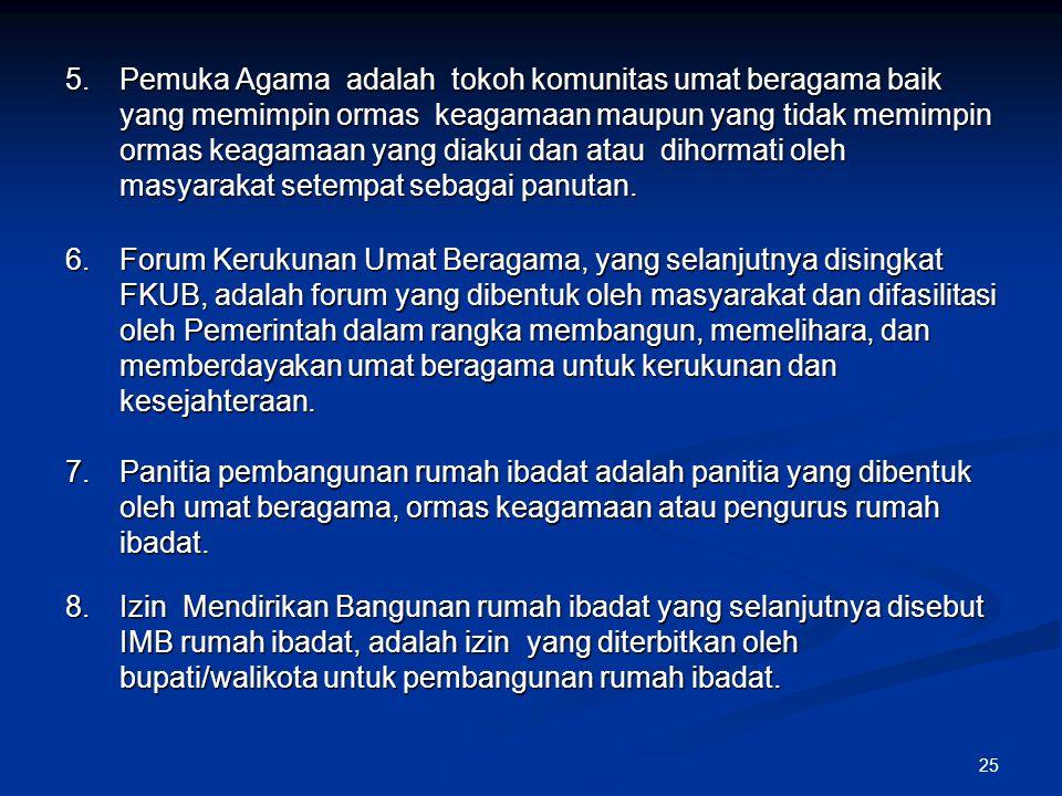 25 5.Pemuka Agama adalah tokoh komunitas umat beragama baik yang memimpin ormas keagamaan maupun yang tidak memimpin ormas keagamaan yang diakui dan a