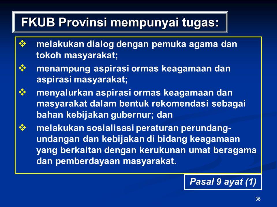 36 FKUB Provinsi mempunyai tugas:   melakukan dialog dengan pemuka agama dan tokoh masyarakat;   menampung aspirasi ormas keagamaan dan aspirasi m