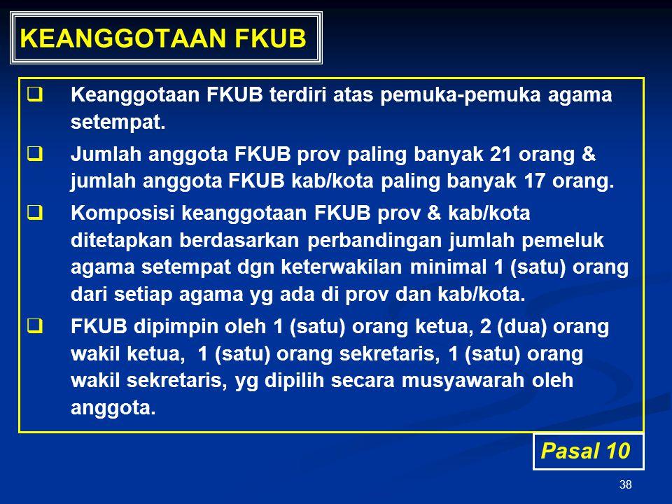 38 KEANGGOTAAN FKUB   Keanggotaan FKUB terdiri atas pemuka-pemuka agama setempat.   Jumlah anggota FKUB prov paling banyak 21 orang & jumlah anggo