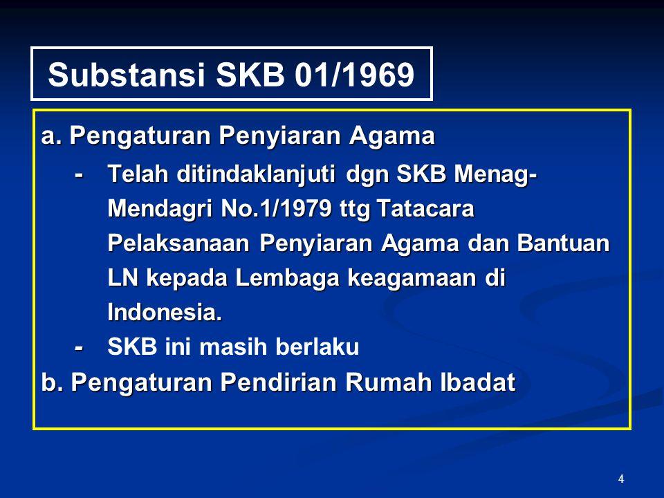 4 Substansi SKB 01/1969 a. Pengaturan Penyiaran Agama - Telah ditindaklanjuti dgn SKB Menag- Mendagri No.1/1979 ttg Tatacara Pelaksanaan Penyiaran Aga