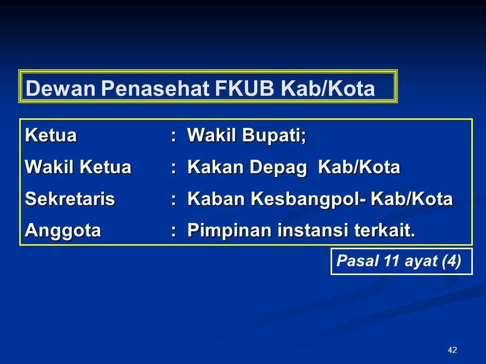 42 Dewan Penasehat FKUB Kab/Kota Ketua: Wakil Bupati; Wakil Ketua: Kakan Depag Kab/Kota Sekretaris: Kaban Kesbangpol- Kab/Kota Anggota: Pimpinan insta