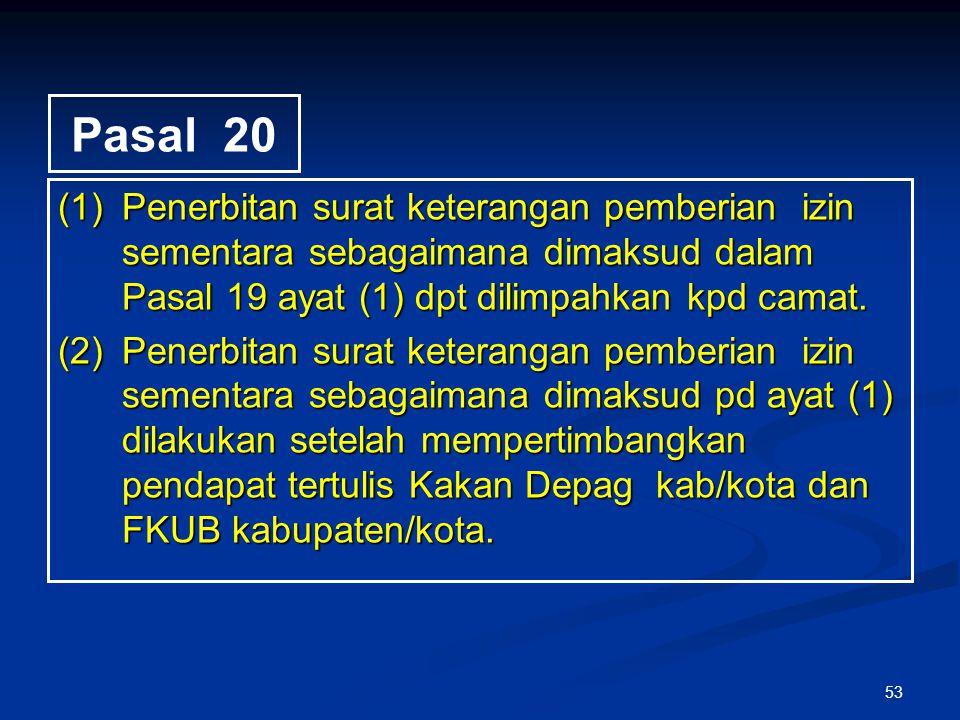 53 Pasal 20 (1)Penerbitan surat keterangan pemberian izin sementara sebagaimana dimaksud dalam Pasal 19 ayat (1) dpt dilimpahkan kpd camat. (2)Penerbi