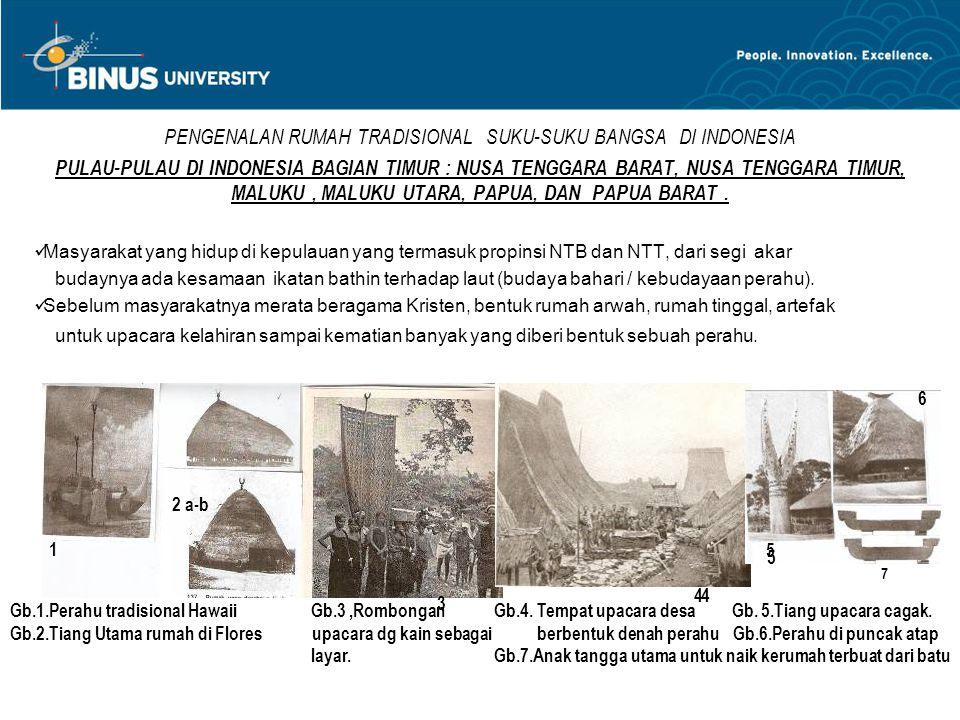 PENGENALAN RUMAH TRADISIONAL SUKU-SUKU BANGSA DI INDONESIA PULAU-PULAU DI INDONESIA BAGIAN TIMUR : NUSA TENGGARA BARAT, NUSA TENGGARA TIMUR, MALUKU, M