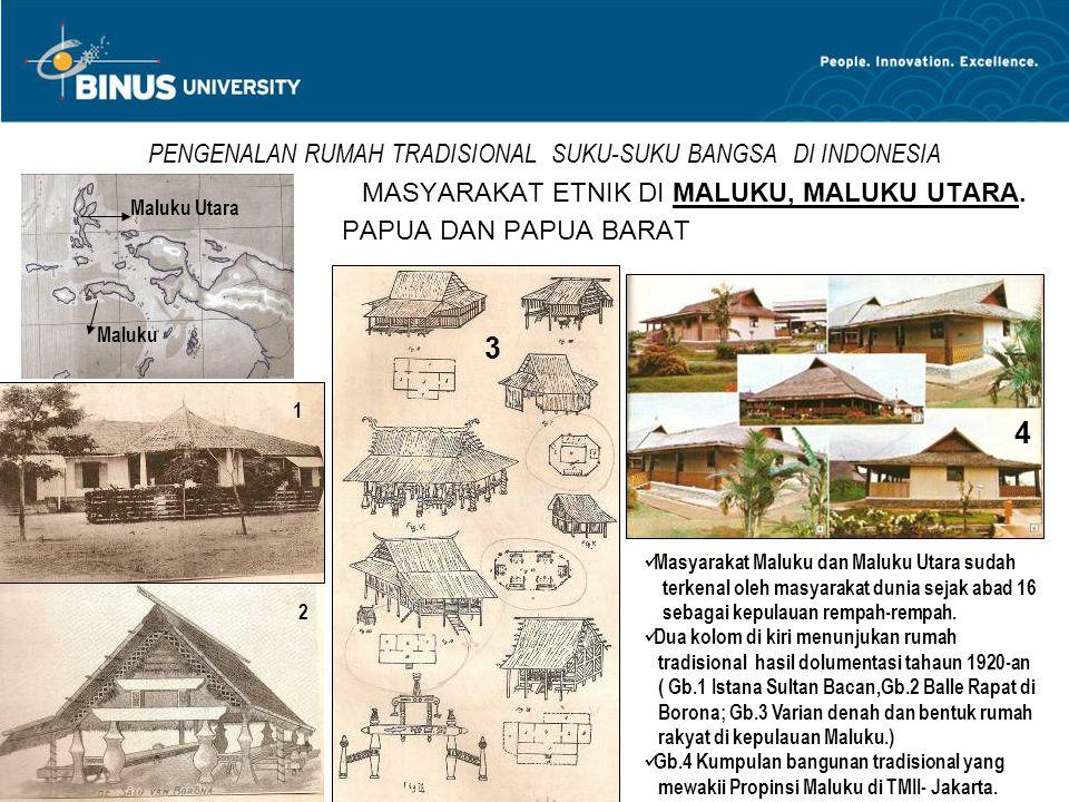 PENGENALAN RUMAH TRADISIONAL SUKU-SUKU BANGSA DI INDONESIA MASYARAKAT ETNIK DI MALUKU, MALUKU UTARA. PAPUA DAN PAPUA BARAT Maluku Utara Maluku 1 2 3 4