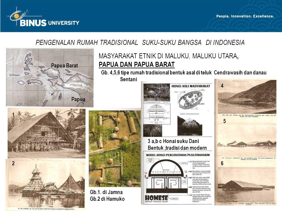 PENGENALAN RUMAH TRADISIONAL SUKU-SUKU BANGSA DI INDONESIA MASYARAKAT ETNIK DI MALUKU, MALUKU UTARA, PAPUA DAN PAPUA BARAT 1 2 3 a,b c Honai suku Dani